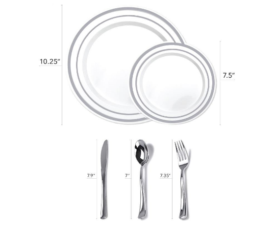 Hot stamp plastic wedding tableware set luxury tableware Sliver plates