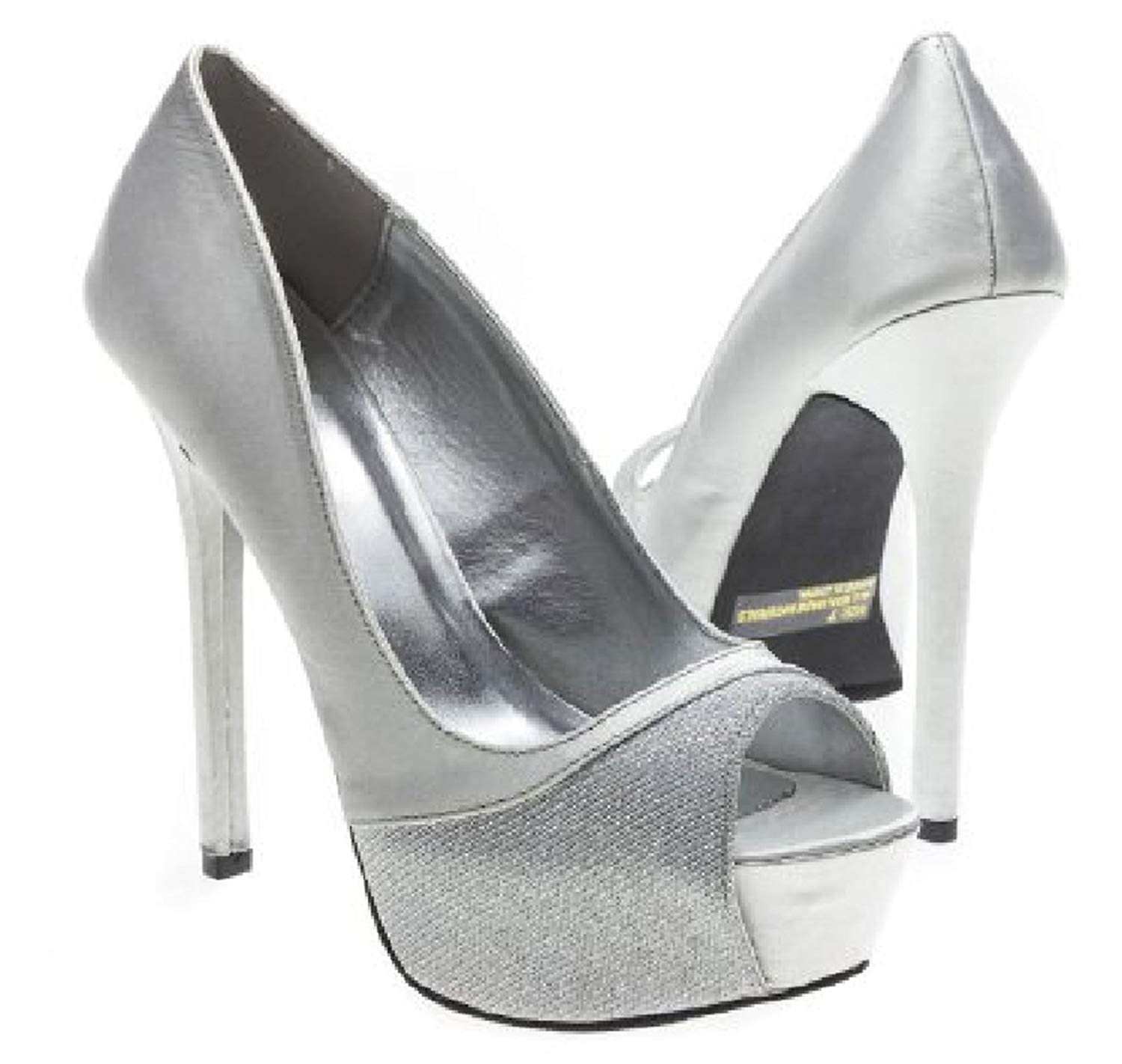cf6f1116a3e5 ... Womens Silver Stud Stilettos High Heels Sandals Gladiator Cage Shoes  Size. 22.99. null. Get Quotations · Qupid Satin Glitter Sexy Peep Toe  Stilettos ...