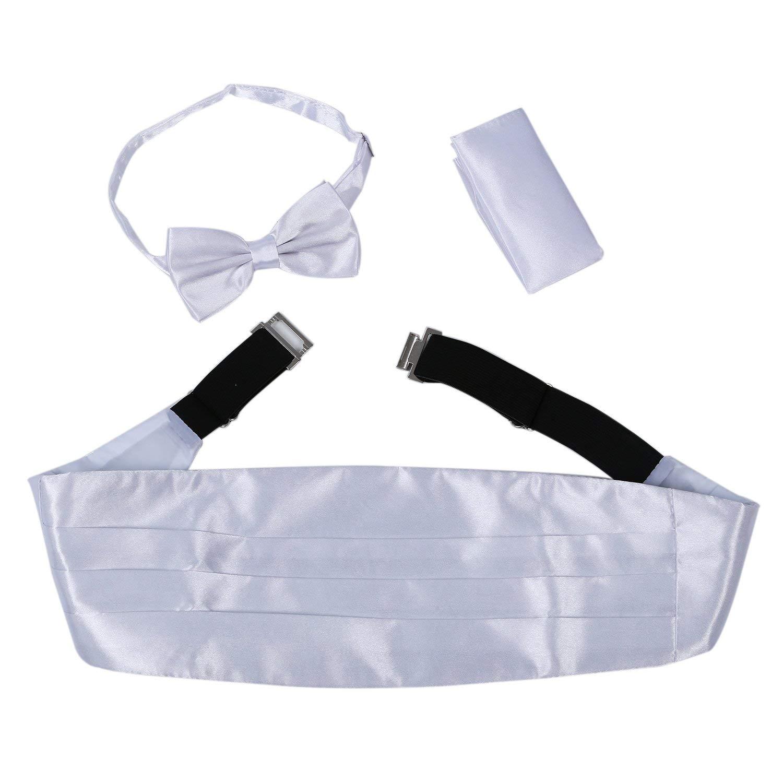 JAIFEI Mens Cummerbund Set-Satin Bow Tie+Handkerchief+Cummerbund For Wedding