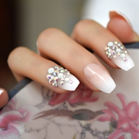 AB Rhinestones Designed Ombre French Nail Ballerina Gradient Natural Coffin Custom Fake Nails 24pcs