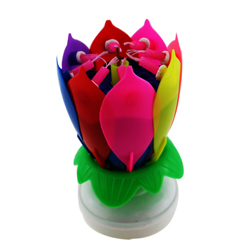 Lotus Shape Song Flower Firework Birthday Decoration Music Candle