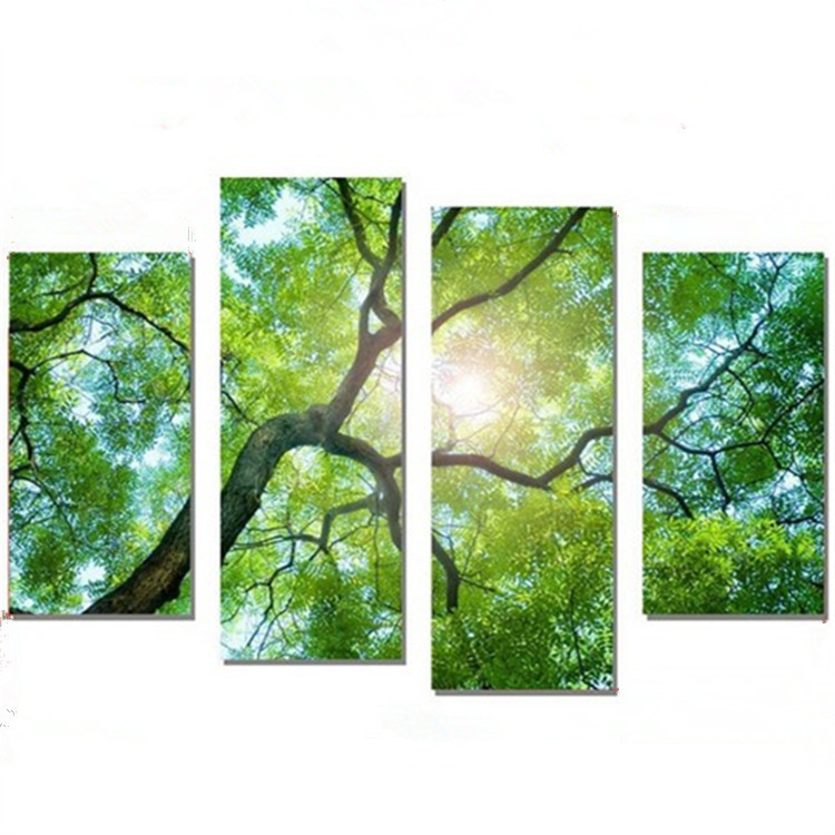 4 Panel Modern Printed Nature Tree Oil Painting Canvas Wall Art Cuadros Decoracion Wall Pictures For Living Room Unframed