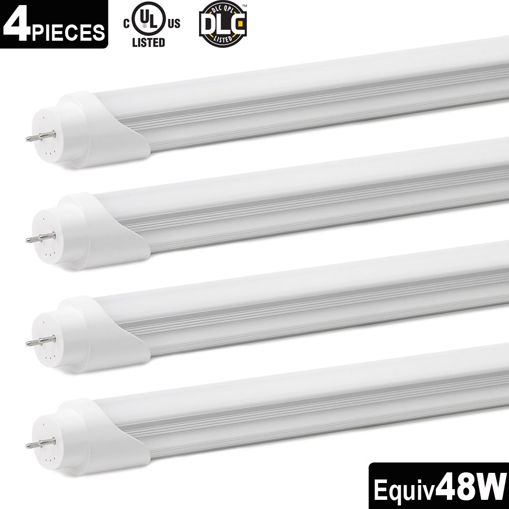 4-Pack Genitronics T8 LED Shop Light Tube,4ft 22W (48W equivalent) 2290Lumens, Daylight White 5000K,G13 Lighting Fixtures, Single-Ended Power Frosted Cover, UL-Listed & DLC-Qualified