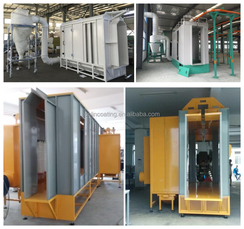 MDF material automatic powder coating line with electric drying oven and powder coating cyclone booth