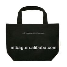 fashion black color heavy duty cotton canvas tote bag