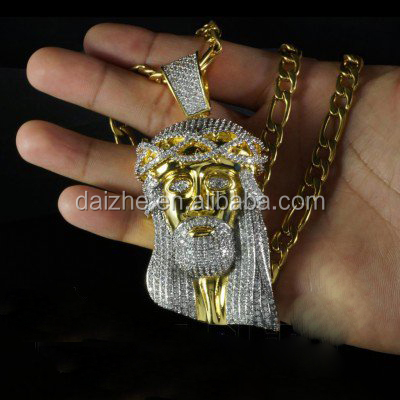 Simulated Diamond lab cz micro pave 18k gold men jewelry big jesus necklace