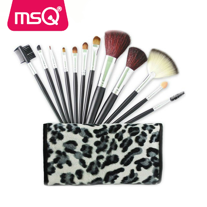 MSQ 12pcs designer cosmetic brush set professional makeup brush cup holder facial makeup brush set