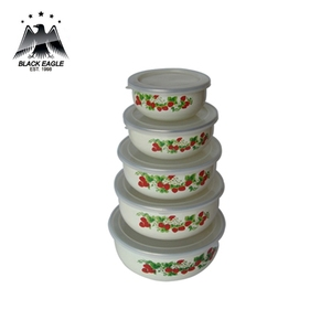 5pcs china custom rice decal printing food enamel ice bowl set