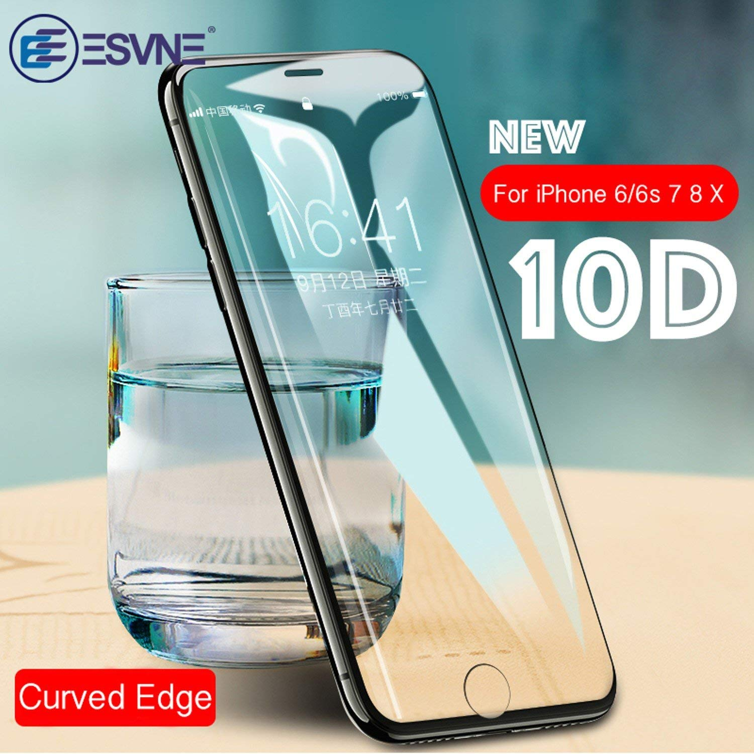 10D Full Cover Protective Glass on the For iPhone X 7 glass 8 Plus Curved Edge Tempered Glass For iPhone X Screen Protector (Black, For iPhone X)
