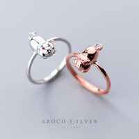 Delicate Wholesale Japan Korea Style 925 Sterling Silver Fashion Cute Little Pig Rose Gold Open Ring Women Jewelry