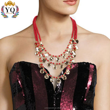 NLX-00309 indonesia wholesale jewelry multi layer acrylic bead necklace brazilian gold jewelry glitter gold coin necklace