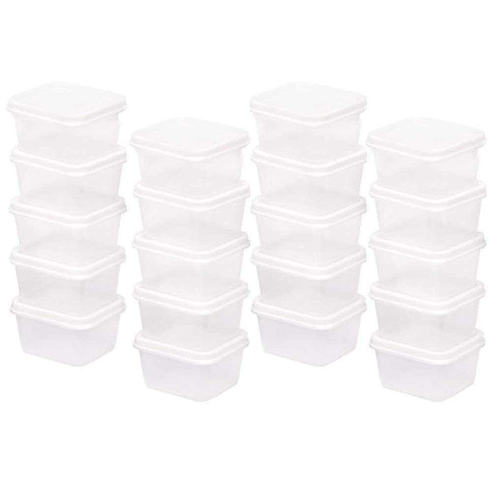"V-Top-Shop Small Tool Box Square Mini Storage Plastic Case Containers - 2.3 fl oz. - 20 Pieces - Transparent - White Lid - Size 2""L x 2""W x 1.5""H"