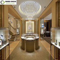 custom modern high end wooden glass stainless steel jewelry counter showcase