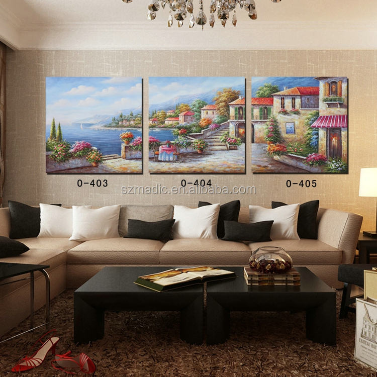 Paintings for Living Room Wall 3 Piece Maditerranean Landscape Abstract Oil Paintings on Canvas Giclee Printings Wholesale