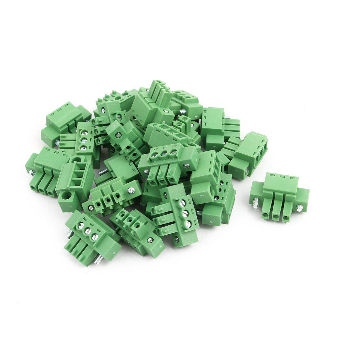 uxcell 25Pcs AC 300V 8A 3.81mm Pitch 3P Terminal Block Wire Connection for PCB Mounting Green