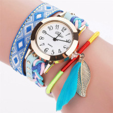 Fashion Casual Dress Wristwatch Pendants Women Alloy Wrap Bracelet Watch