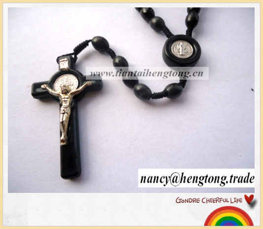 Black pearl rope necklace, papal alloy cross necklace, woven beaded Jesus cross necklace