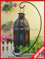 vintage embossed glass moroccan metal candle lanterns for decoration