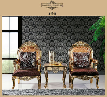 Royal Luxury French Wood Carved Coffee Chairs Tables