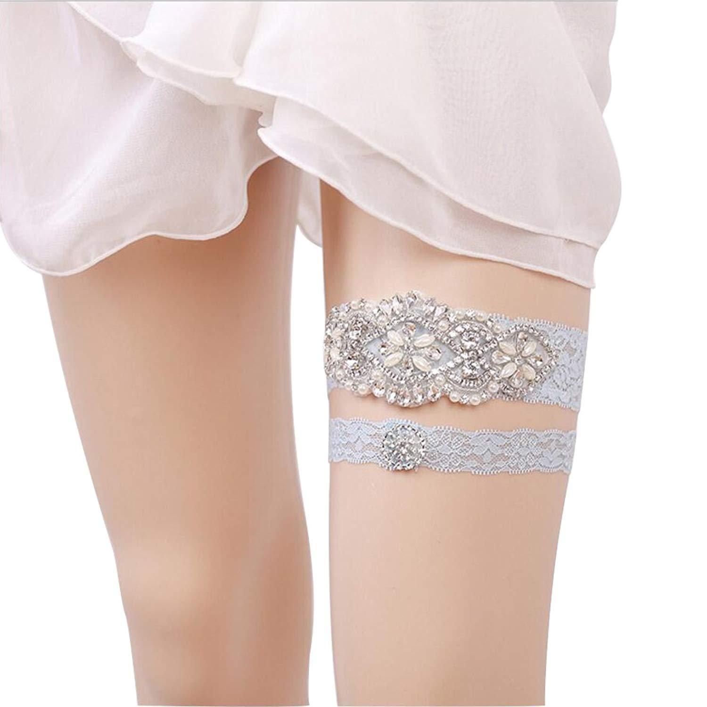 75da77a5084 Get Quotations · 1 Pair Luxury Bridal Garter Rhinestone Pearl Lace Bridal Garter  Leg Garter for Wedding