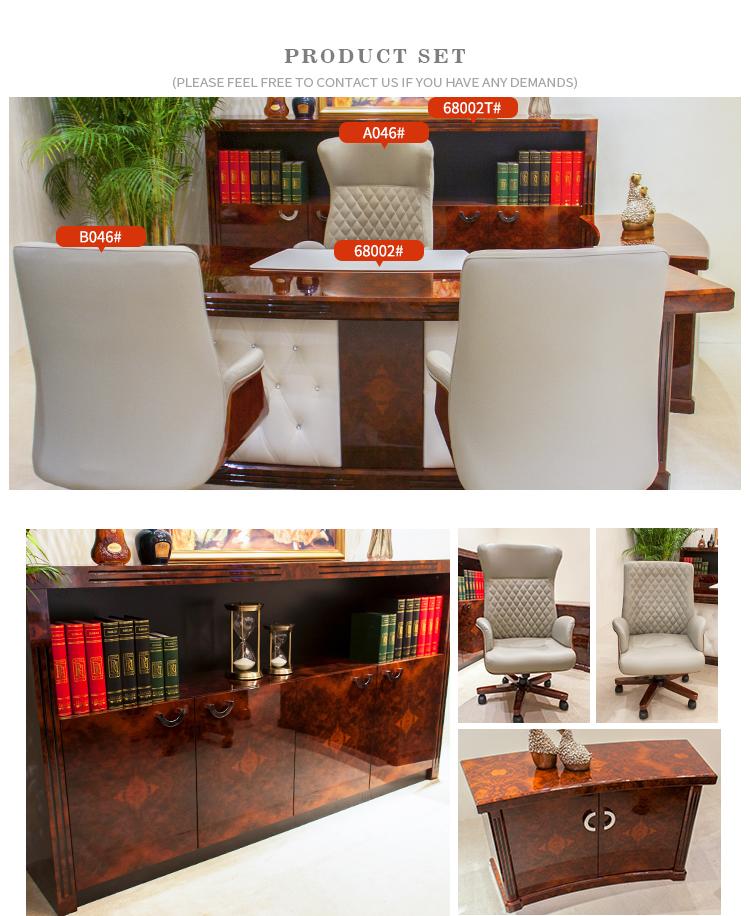 Negócios de luxo vermelho Escuro Brilhante grão de Madeira MDF fornecedor de móveis de escritório secretária executiva mesa de escritório personalizado 68002
