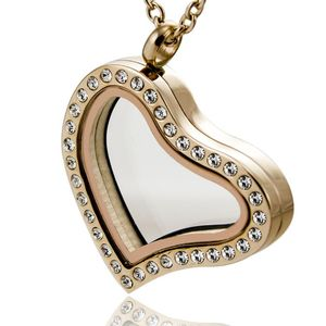 Hot selling customized stainless steel glass locket crystal Rose gold heart pendant
