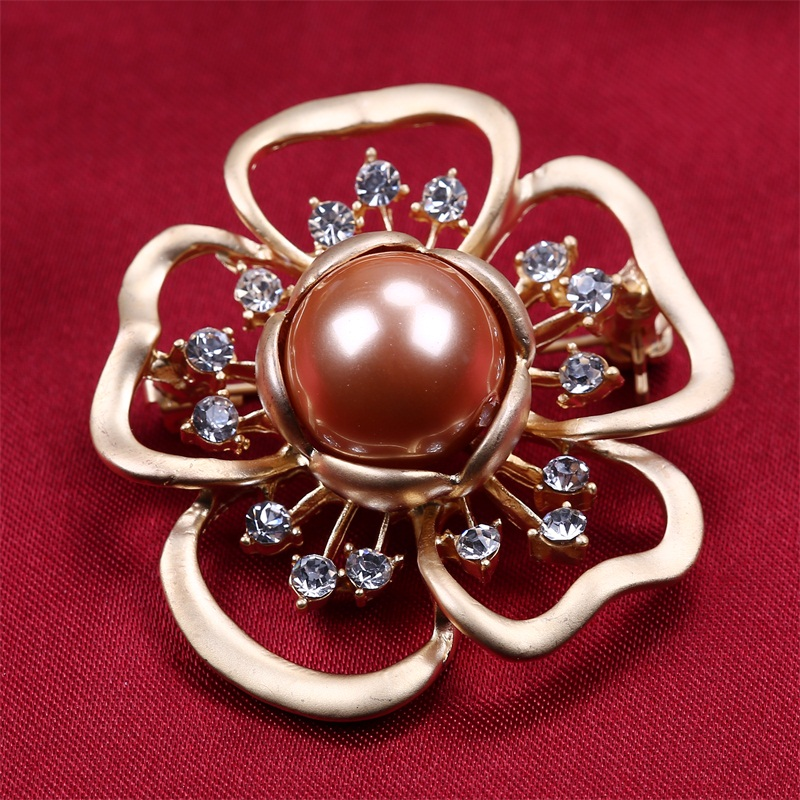 New flower design Gold Plated big shell pearl aooly indian jewelry brooch
