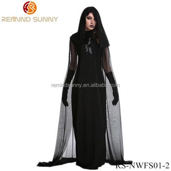 Wmens Halloween Costume Cosplay Black Witch Mesh Long Prom