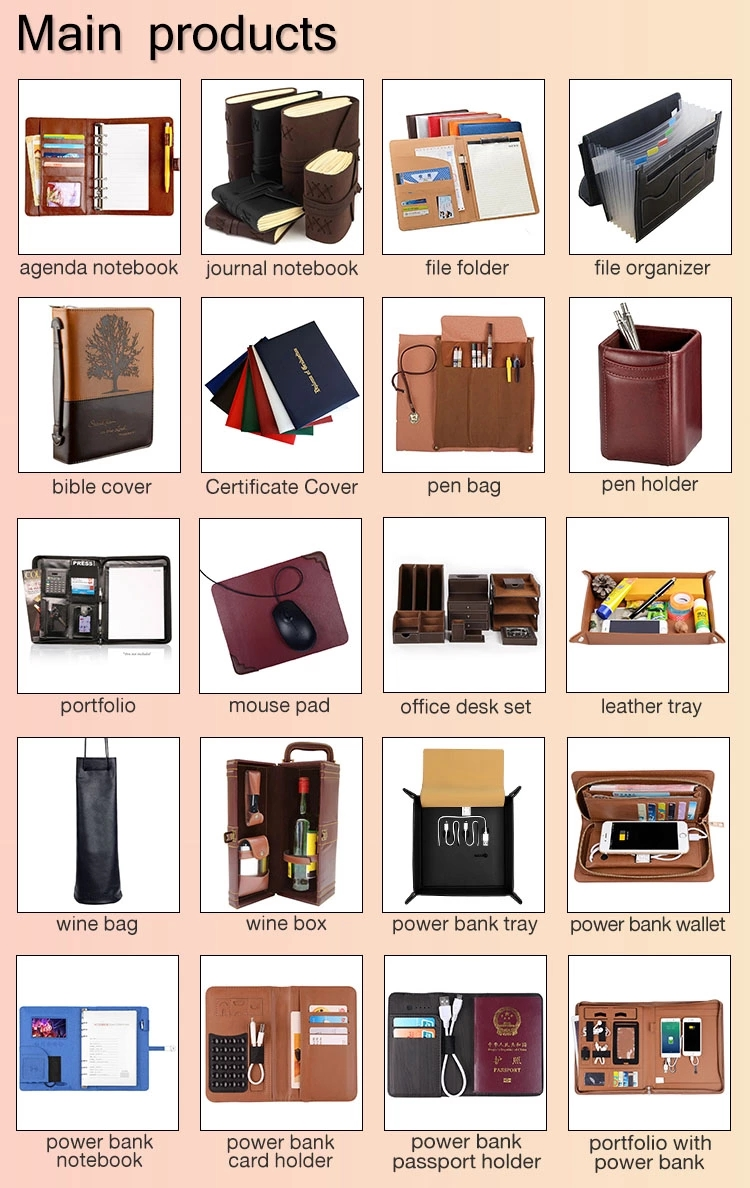 Notebook with 4000-10000 mAh Moveable Battery PU Leather Chancery Accessories Novel Gift Writing Pad School Supplies Gift
