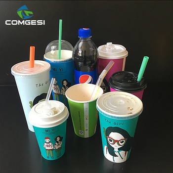 Cold Drink Paper Cups_Double PE single wall cold drink paper cup_Disposable cold paper cup with cover and straw