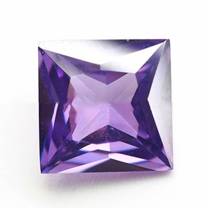 amethyst color princess cut cz loose stones