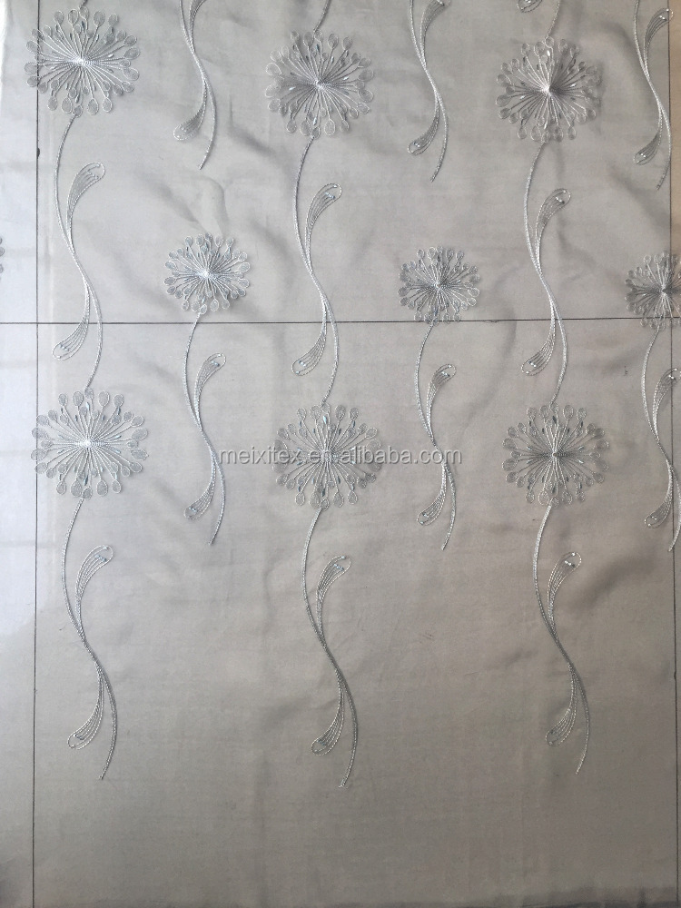 Gold thread embroidered organza curtain fabric for meeting rooms