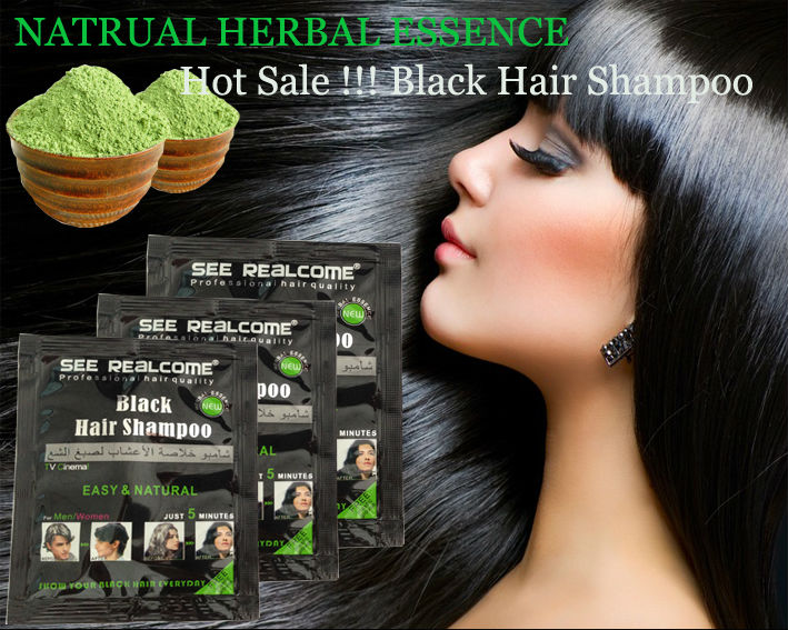 Natural Herbal Black Henna Hair Dye Shampoo Make Hair Black In 5 ...
