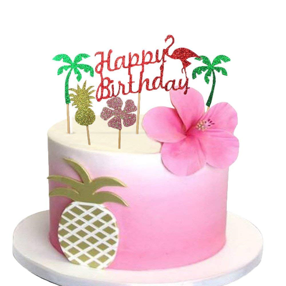 Sakolla Set Of 5 Flamingo Cake Toppers Pineapple Happy Birthday Decoration Tropical Hawaiian