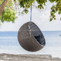 Simple ball shaped resort garden leisure lounge furniture outdoor cheap hanging wicker egg chair