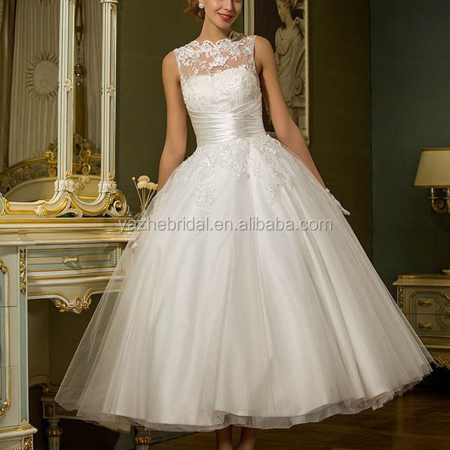 Ankle Length Tulle Wedding Dress with Appliques