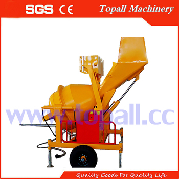 Topmac 250liter small hydraulic concrete mixer machine With Hydraulic Hopper