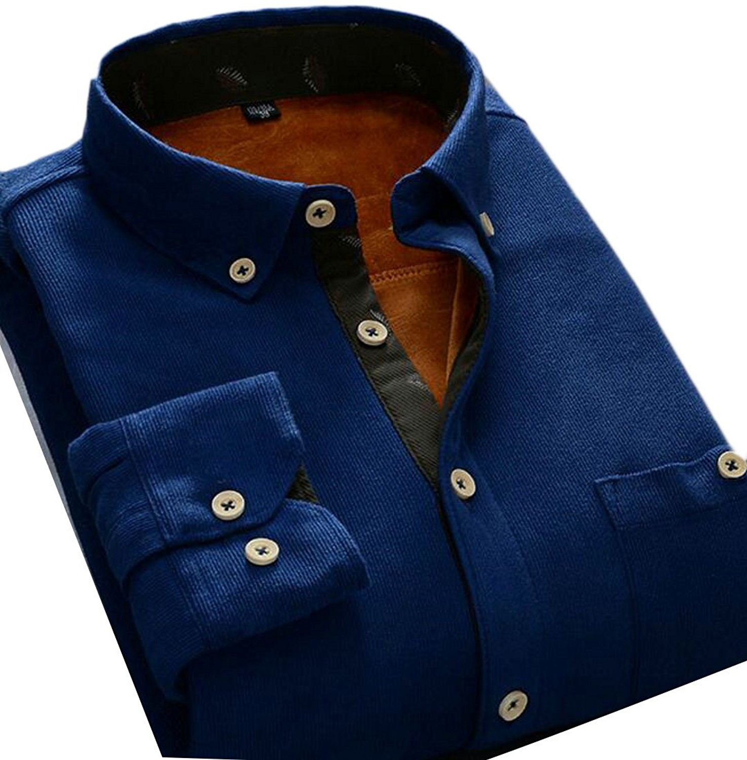 GAGA Mens Leisure Long Sleeve Slim Fit Corduroy Solid Color Button Down Dress Shirts
