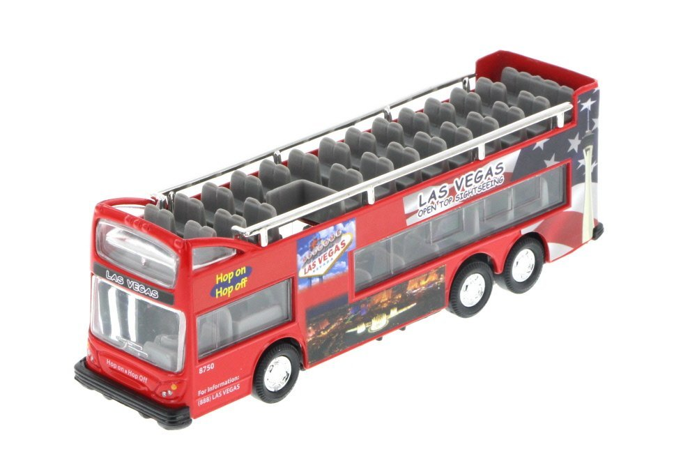 """Las Vegas 6"""" Double Decker Sightseeing Bus Open Top, Red - 2168DLV - Collectible Model Toy Car"""