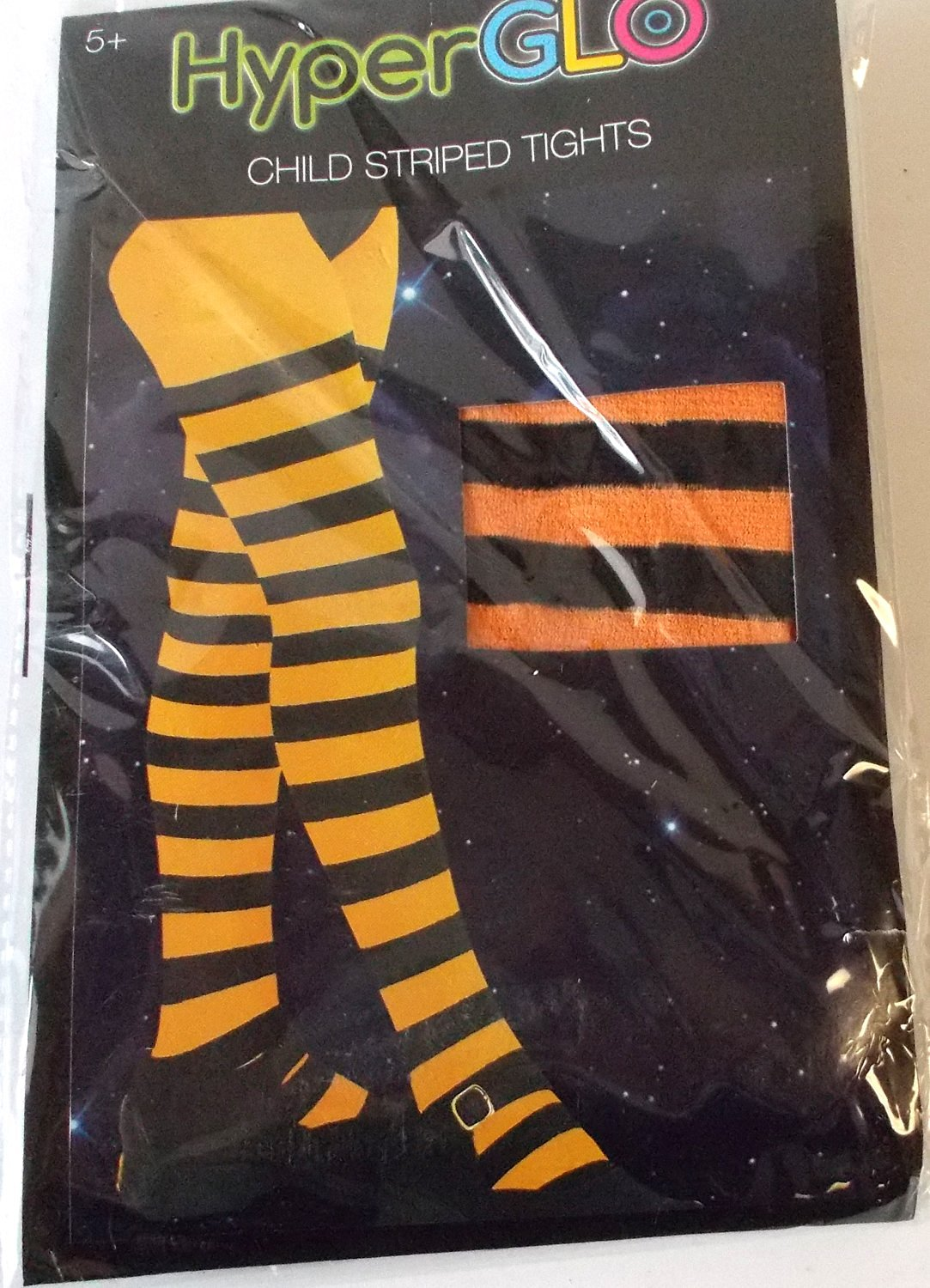 129e7d6e72d Get Quotations · Orange Black Striped Child Tights HyperGlo 5+ OSFM NIP
