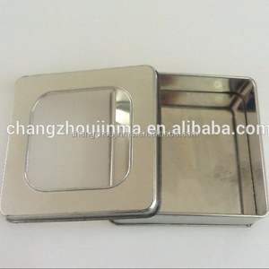 Factory direct sale durable wholesale clear lid square tin container