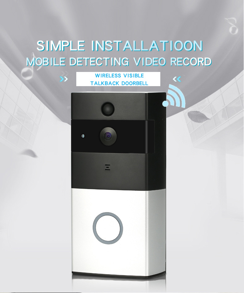 720P WIFI Visual Intercom Door Phone Wireless Video Doorbell With PIR Motion Detector Smart Video Doorbell Night View