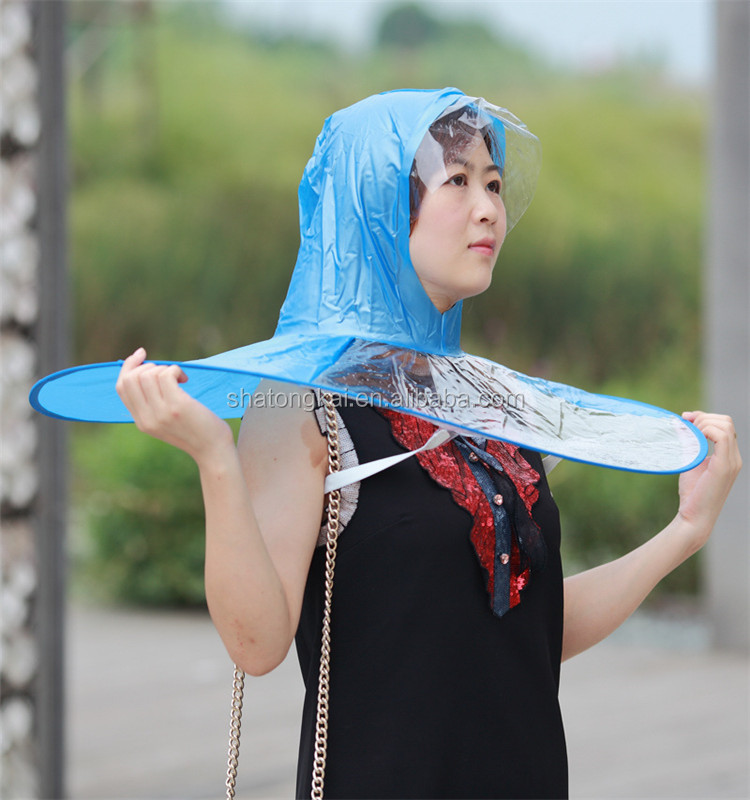 Folding PVC Rain Hat hand free umbrella Kids UFO Shaped Rain gear Rain Hats  umbrella a8a04ffd4f34