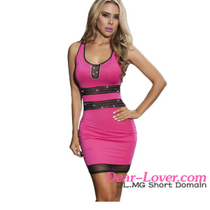 Dear-lovre Mesh Insert Rosy Bodycon chinese women nightgown
