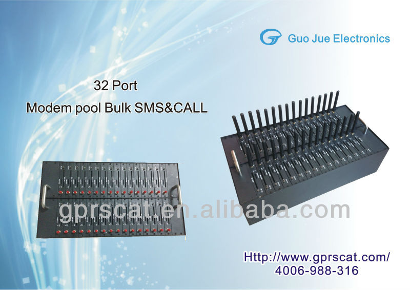32 port gsm modem pool for cluster sms sending,support AT command and TCP/IP