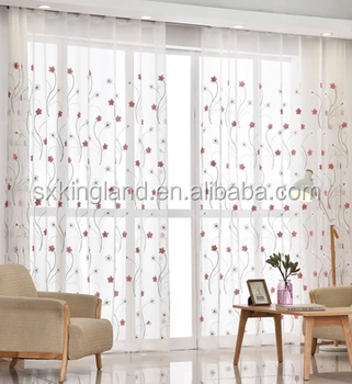 Polyester Shower Curtain Sable Embroidery Sheer Beaded Room Divider