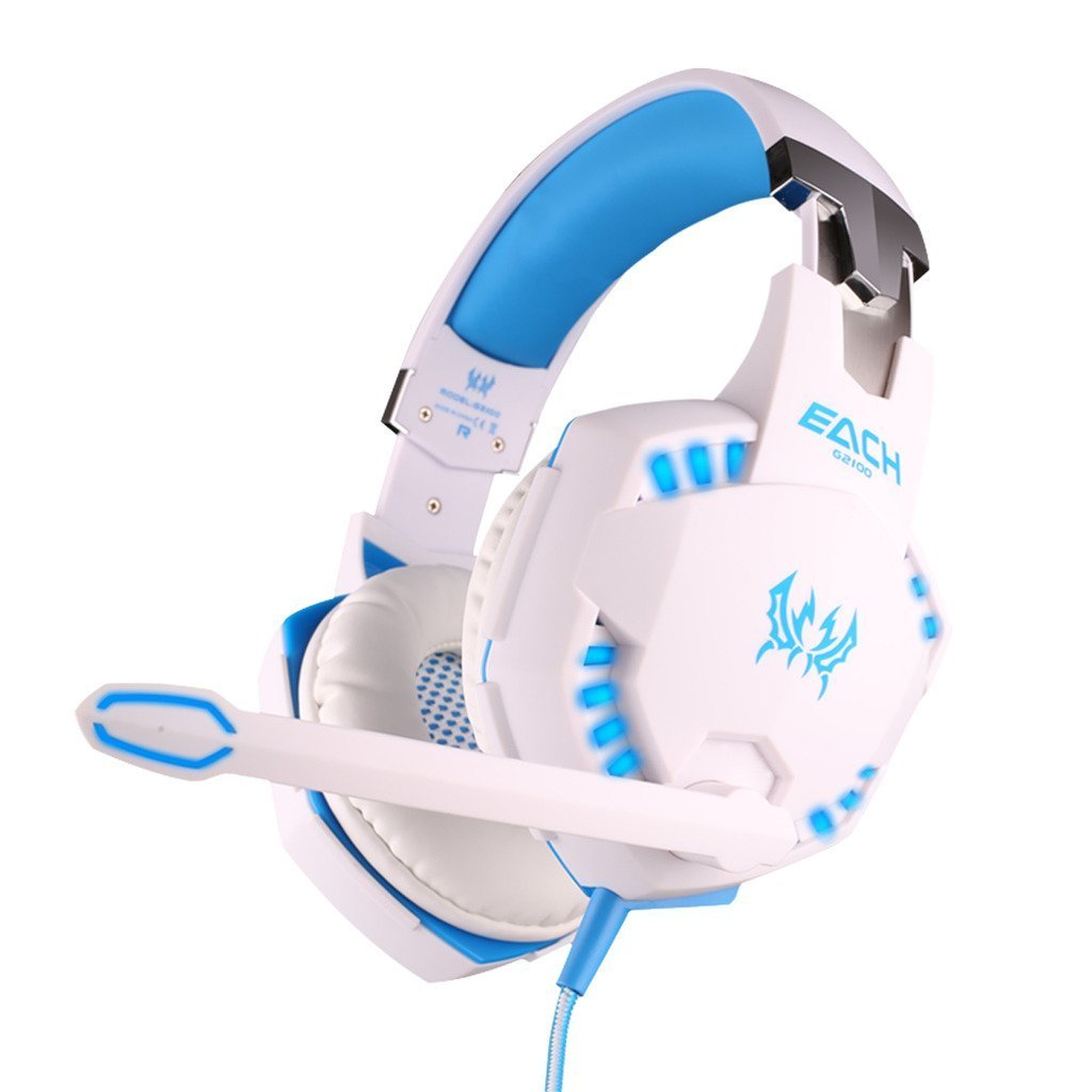 LinGear Gaming Headphones, G2100 Professional 3.5mm Bass Stereo Noise Cancelling Vibration Headband Game Headset with MIC Volume/LED Lights/Voice Control HiFi Driver For PC Laptop - White