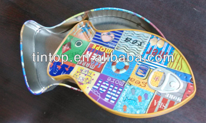 Dongguan factory fish tin/Fashion design with peel lid Tin Box / promotional tin
