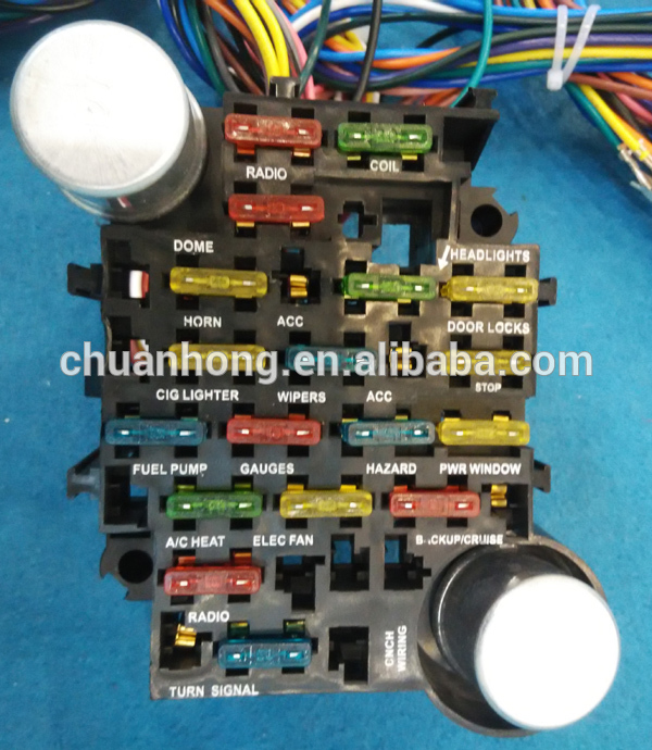 cnch14 circuit hotrod wiring kit relay fuse box panel chevy mopar ford  universal wire harness factory