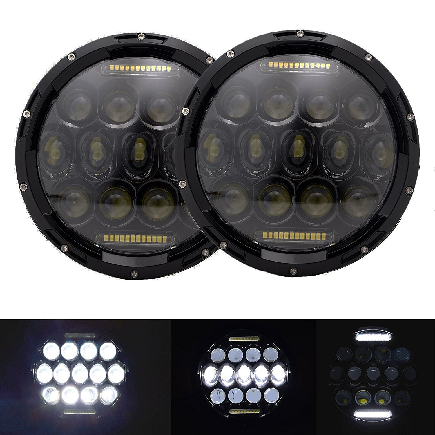 Plug /& Play Harley Davidson Motorcycles H4 to H13 Adapter Land Cruiser /& More Universal 7 Round H4 45W LED Headlight Sealed Beam 2 pc Set Halo Turn Signal /& DRL Cold White ONLINE LED STORE 4350367606 - for Jeep